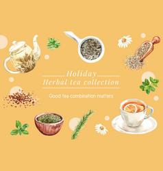 Herbal tea frame design with lemon basil rosemary vector