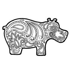 Hippo tangle pattern animal zen vector