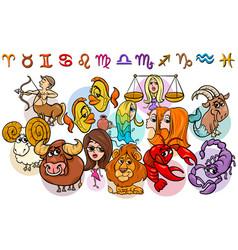 Horoscope zodiac signs collection cartoon vector