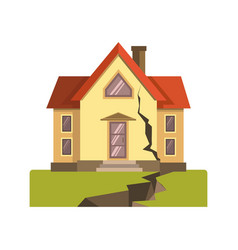 House cracked in earthquake vector