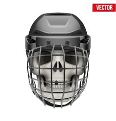 Human skull with ice hockey helmet vector image