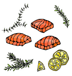 Image of steak of red fish salmon lemon and herbs vector