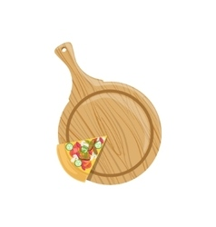 Last Pizza Piece Left On Wooden Plate vector