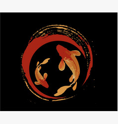 Legendary japan koi fish logo luck prosperity and vector