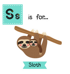 Letter s tracing mother and child sloth hanging vector