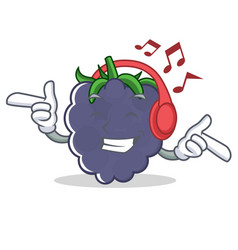 Listening music blackberry character cartoon style vector