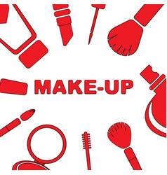 makeup set of cosmetics vector image