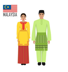 Malasian young man and woman in national costume vector