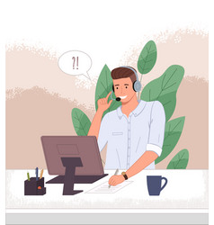 male operator call center ot hotline at the vector image