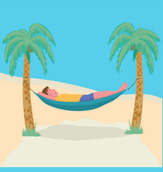 Man lying in a hammock attached to palm trees vector