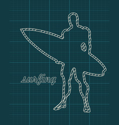 man standing with surfboard vector image