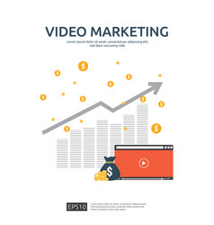Media marketing concept making money from video vector