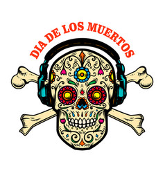 mexican sugar skull with headphones and vector image