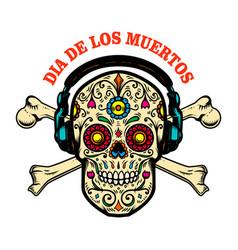 mexican sugar skull with headphones vector image