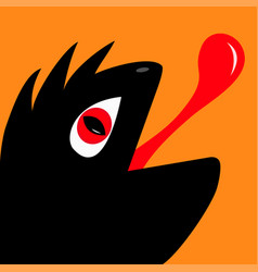 Monster reptile head silhouette with red devil eye vector