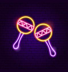 music maracas neon sign vector image