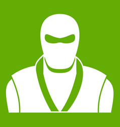 ninja in black mask icon green vector image