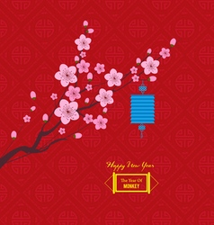 Oriental Paper Lantern plum blossom Chinese new vector