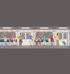 people or city dwellers in metro subway tube or vector image