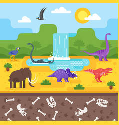 Prehistoric landscape with dinosaurs vector