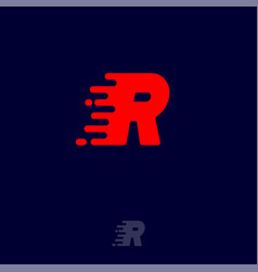 r letter winds movement dynamic logo velocity vector image