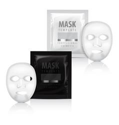 Realistic facial sheet mask and sachet vector