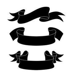 ribbon banners black icons set vector image