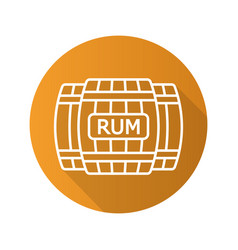 rum wooden barrels flat linear long shadow icon vector image