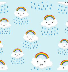 sad rainbow emotion with clouds seamless pattern vector image