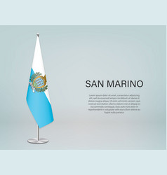 San marino hanging flag on stand template vector