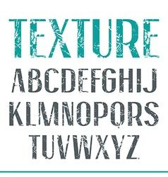 Sans serif narrow font with shabby texture vector