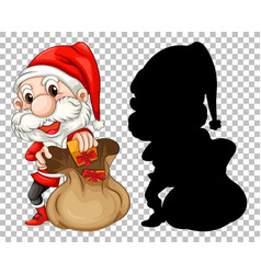 santa and present bag vector image