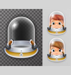 Scientist cosmonaut helmet realistic 3d astronaut vector