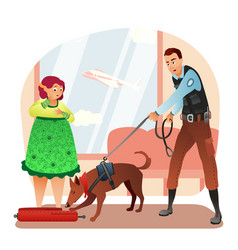 Security man with tracker dog check woman bag vector
