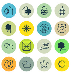 Set of 16 ecology icons includes sea star cloud vector