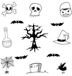 Set of doodle halloween vector image