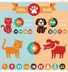 set of infographics design elements - dogs and cat vector image