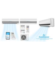 Set realistic air conditioner vector