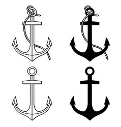 Set with isolated anchors black and white vector