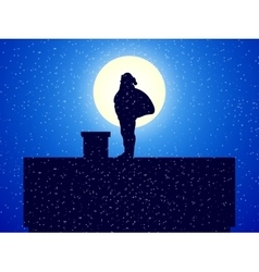 Silhouette Santa Claus standing on roof a house vector image