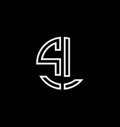 sl monogram logo circle ribbon style outline vector image