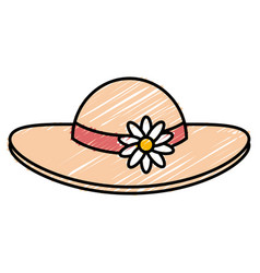 Summer female hat with flowers vector