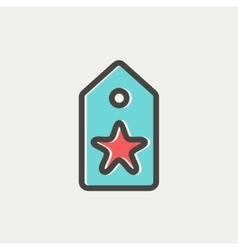 Tag with star best offer sale thin line icon vector image