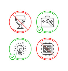 Tool case idea and wine glass icons set cpu vector