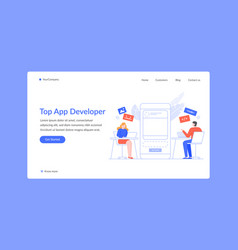 top app developer work or write script landing vector image