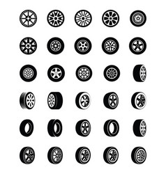 Tyres glyph icons set vector