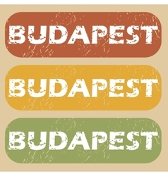 Vintage Budapest stamp set vector image