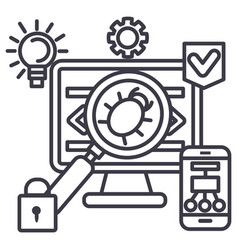 Virushackeranti hacking line icon sign vector