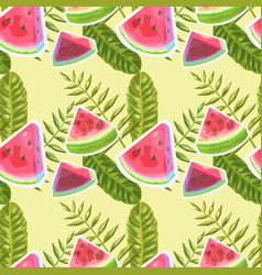 Watermelon watercolor seamless pattern vector