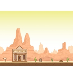 Wild old west canyon background with land office vector image